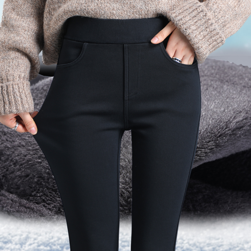 Underpants women autumn winter plus-down pants outside wearing the new 2020 winter thick high-waisted black narrow-tube tights show thin