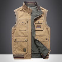 Double-sided wear spring and autumn section tooling clip male thin casual waistcoat in the elderly wear fishing multi-pocket vest