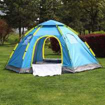Outdoor fully automatic single door 6 to 8 people free of charge to set up a one-bedroom hexagonal tent tourism season camping big tent