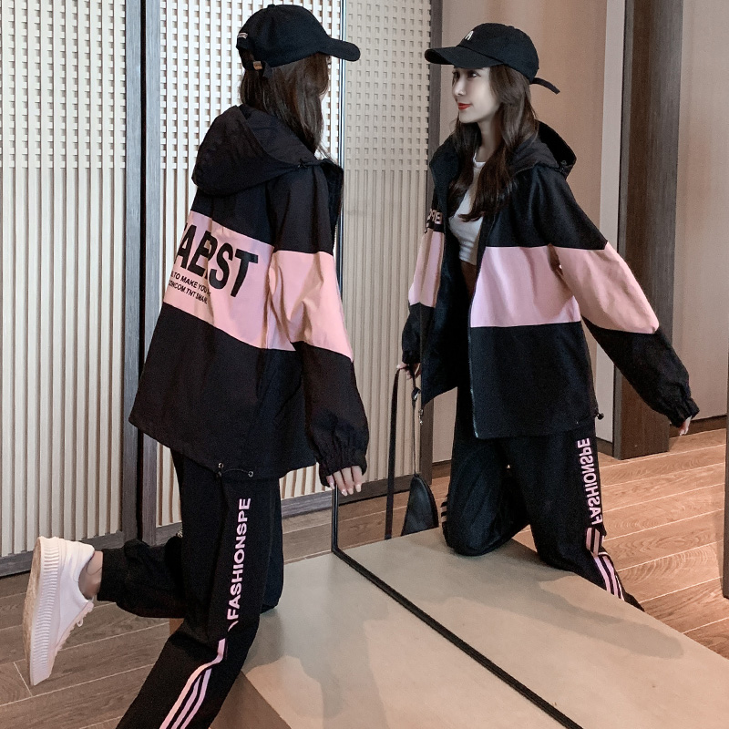 Sports and leisure suit womens spring and autumn tide brand fashion sports style students loose European station girl bf two-piece set
