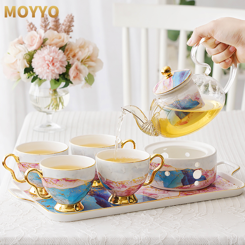 Moyyo English ceramic glass flower teacout set afternoon tea set fruit teapot with filtered candle heating