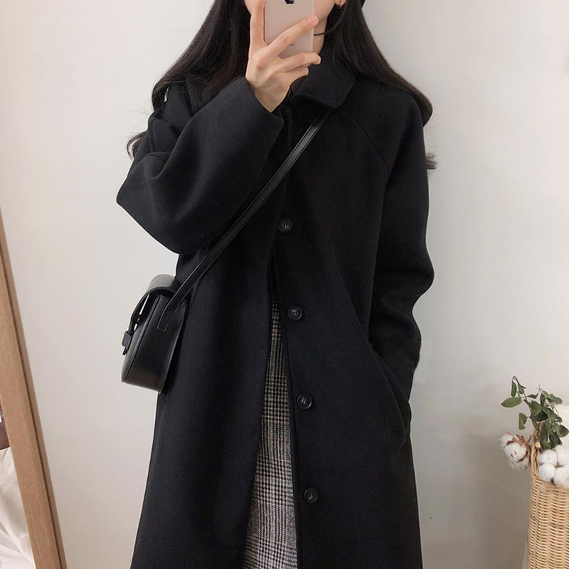 Black hair coat female medium-length version of the 2020 autumn winter Hepburn style temperament thickened small man coat new