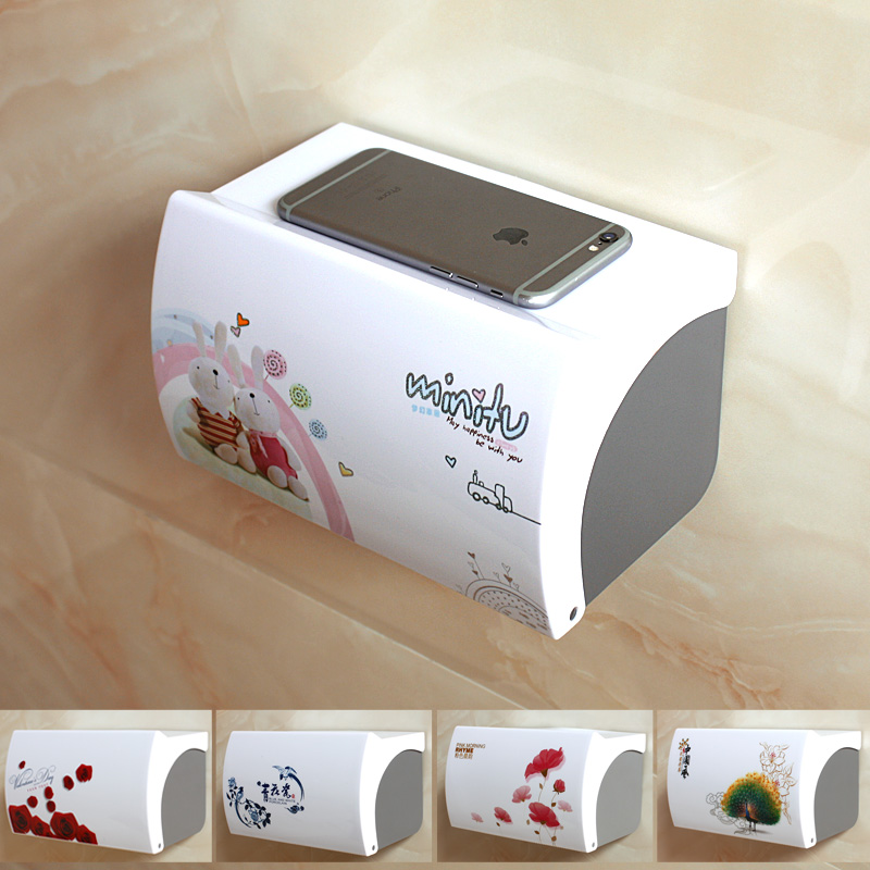 Dressing room tissue box toilet toilet paper holder toilet tray hole-free creative waterproof paper towel rack toilet tray