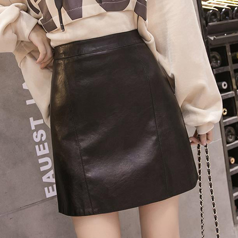 2020 new autumn black small leather skirt high waist a-line skirt female autumn and winter fashion bag hip pu leather short skirt