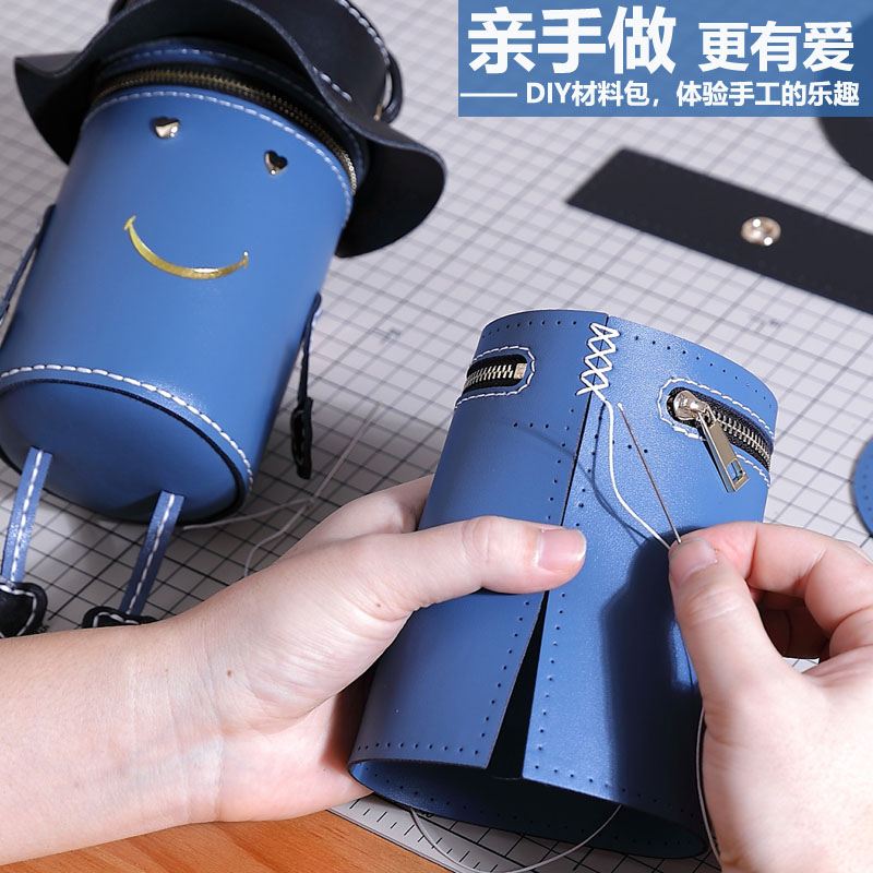 Pure leather handmade bag DIY material package self-made villain leather Tanabata gift for girlfriend hand-stitched weaving