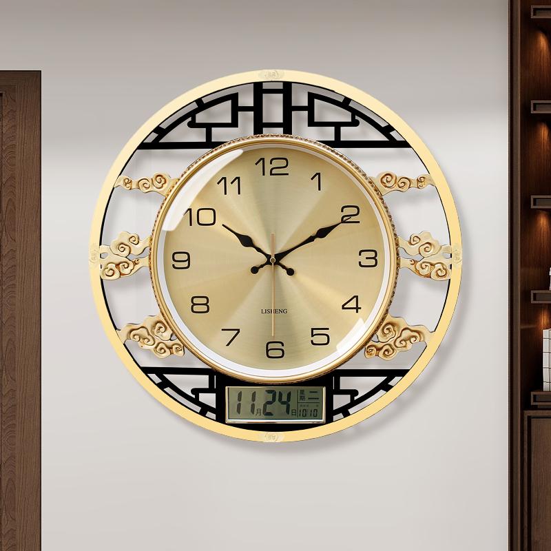 New Chinese wall clock light luxury living room silent clock 錶 creative personality atmospheric clock fashion wall watch home quartz clock
