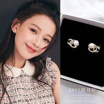 Korean double c pearl earrings 2021 new fashion female sterling silver earrings simple small exquisite high-class temperament