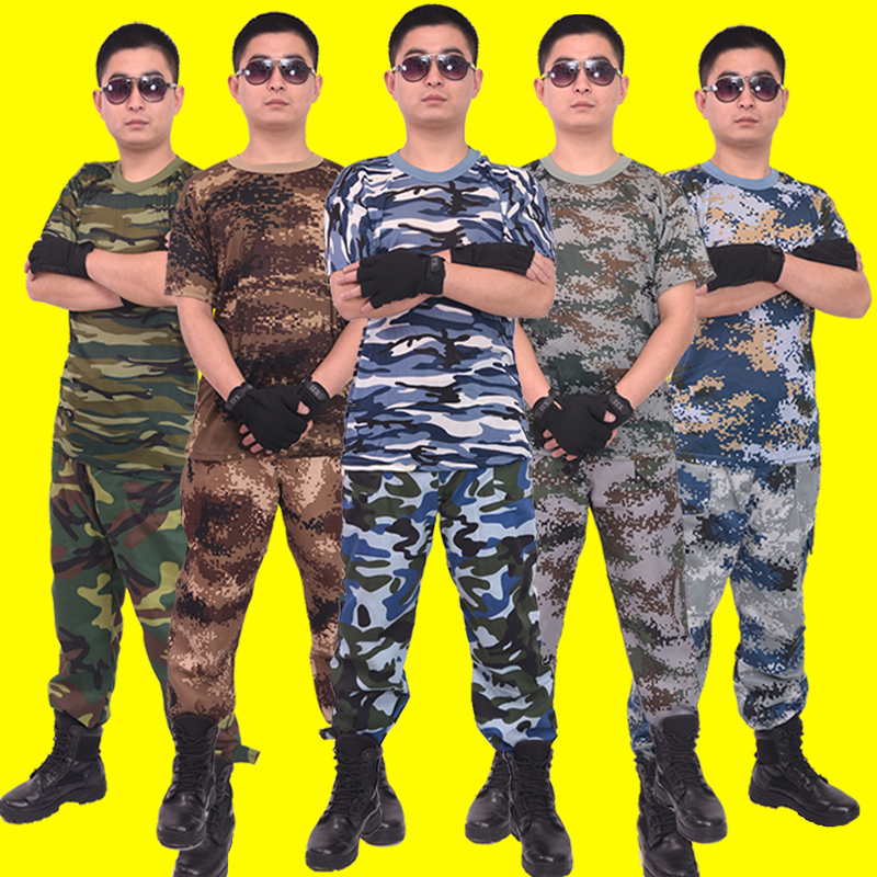 Camouflage short-sleeved t-shirt men and women military enthusiasts training quick-drying vest summer fitness training suit outdoor half-sleeved shirt