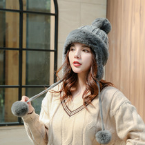 Northeast plus velvet Lei Feng hat wool cap cute lady warm winter knitted hat Harbin snow country tourism equipment