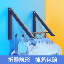 Stacked invisible clothes hanger wall hanging clothesline impotence wall floor-to-ceiling hole-free telescopic indoor hanger artifacts