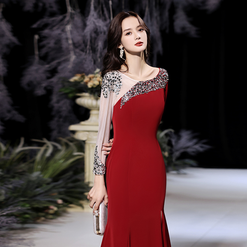 High-end evening dress women 2020 new banquet temperament senior texture host annual sleeve toast bride