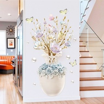 (Self-sticker) elegant vase flower wall paste bedroom Xuanguan dining room wall can be posted Jingfu