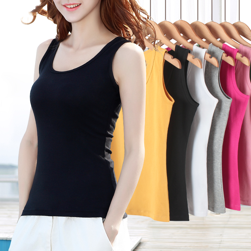 Black large-size wear bottomless top white word sling small vest women with short summer outer wear tide