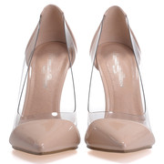 The new European summer transparent nude pointed heels shallow mouth stiletto heels sexy color shoes wedding shoes shoes