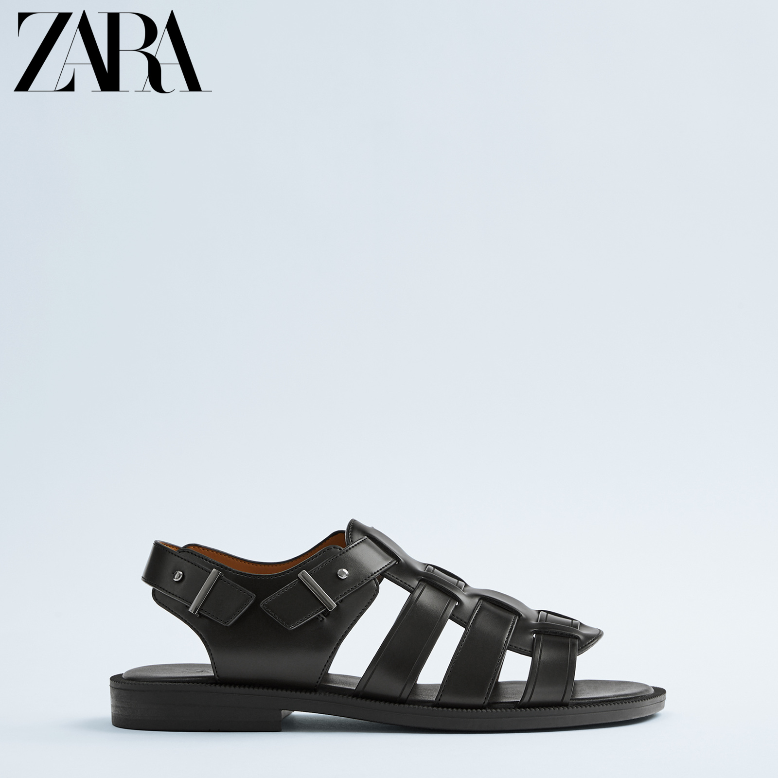 Zara new men's shoes black belt decorated sandals 12714520040
