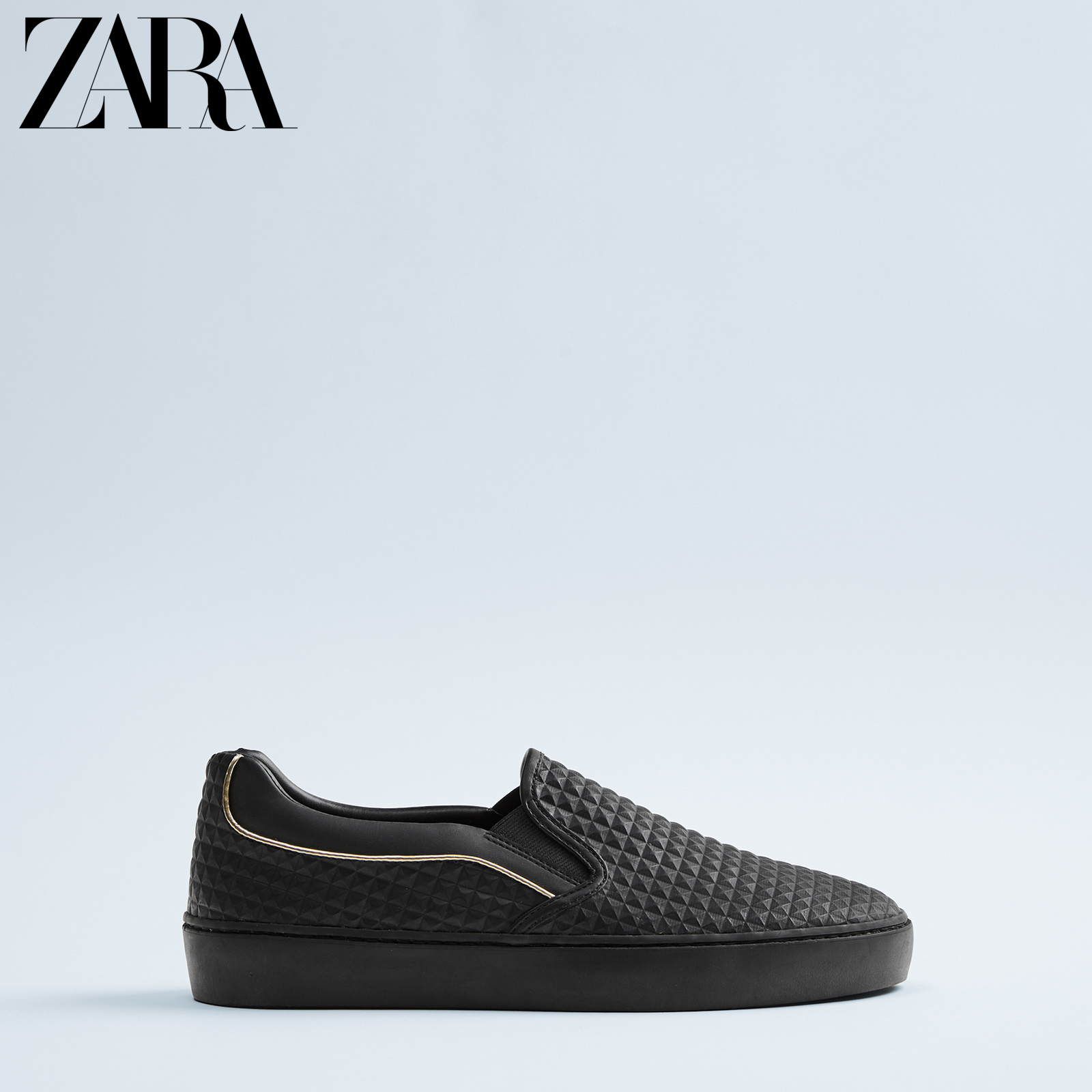 Zara new men's Shoes Black Embossed low top trend shoes 12208520040