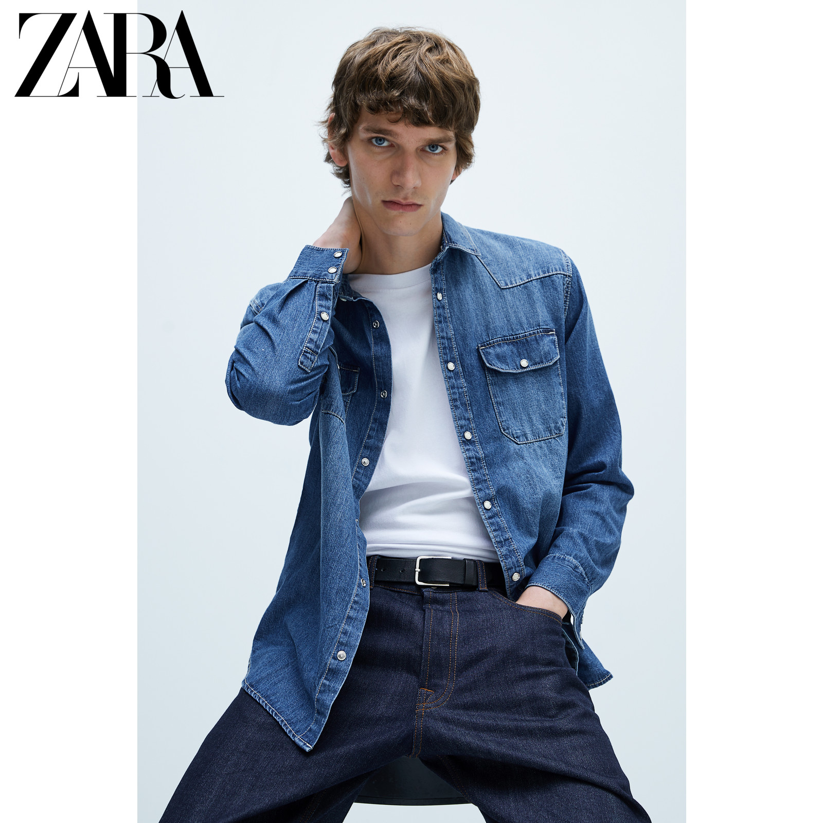 Zara new men's casual line decoration denim shirt 08574499427