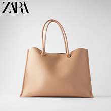 Zara new women's Bag Pink minimalist one shoulder portable shopping bag 16009510050