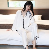 Silk pajamas womens two-piece set spring and summer 2021 new sexy home clothes advanced sense of ice silk pajamas suit