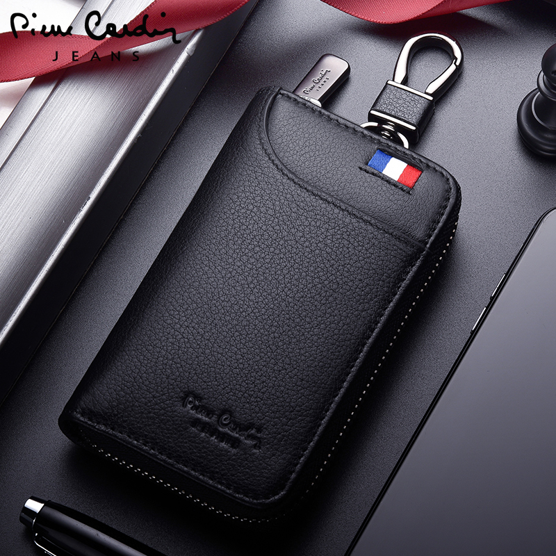 Pierre Cardin Key Pack Men's Leather Zipper Key Simple Multifunctional Car Key Keyboard Personal Card Pack Men