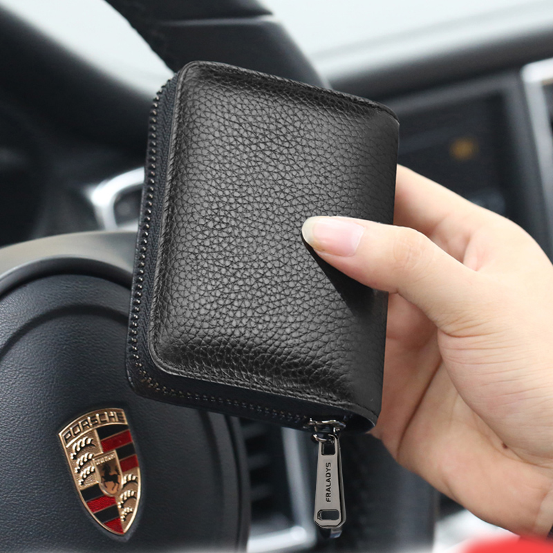 Card Bag Male Large Capacity Multi-Card Position Leather Sleeve Ultra-thin Certificate Bag Clamp Small Women Card Sleeve Anti-theft Brush Anti-degaussing