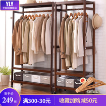 Home floor coat rack solid wood simple clothes rack cabinet bedroom hanger simple modern clothes rack multi-purpose