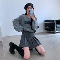 SINGSONG pleated skirt womens 2021 spring and autumn high waist a word slim skirt Academy wind Joker half skirt