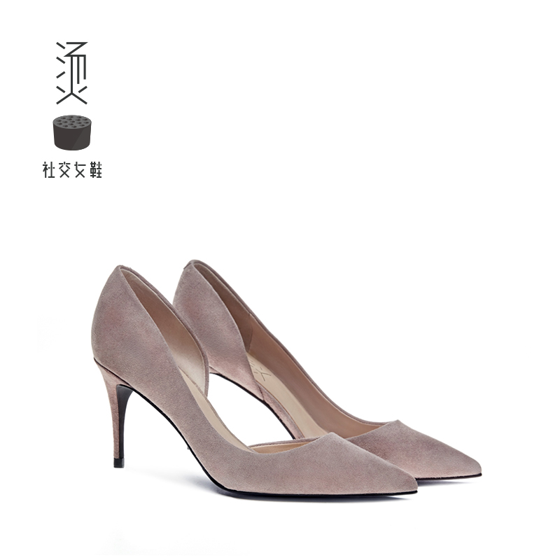 Hot Social Women's Shoes 2019 New Summer Gray Naked Sheep Point High-heeled Shoes Sexy Sandals with Single Shoes