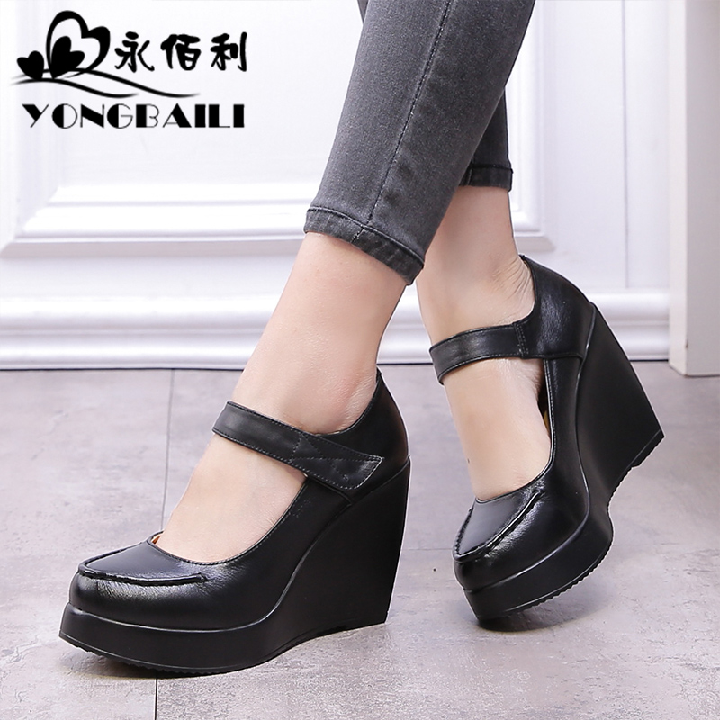 Yonglili 2018 spring and autumn new fashion leather women's shoes shallow oral layer cowhide thick bottom slope high heel shoes