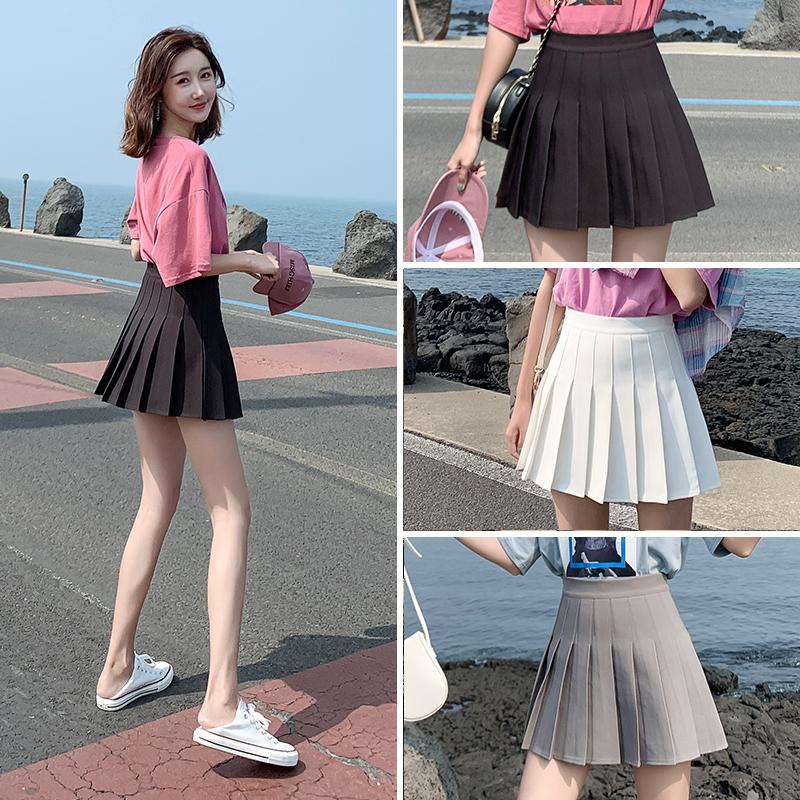 Pleated skirt womens summer gray skirt spring and autumn black spring high waist white small skirt large fat mm
