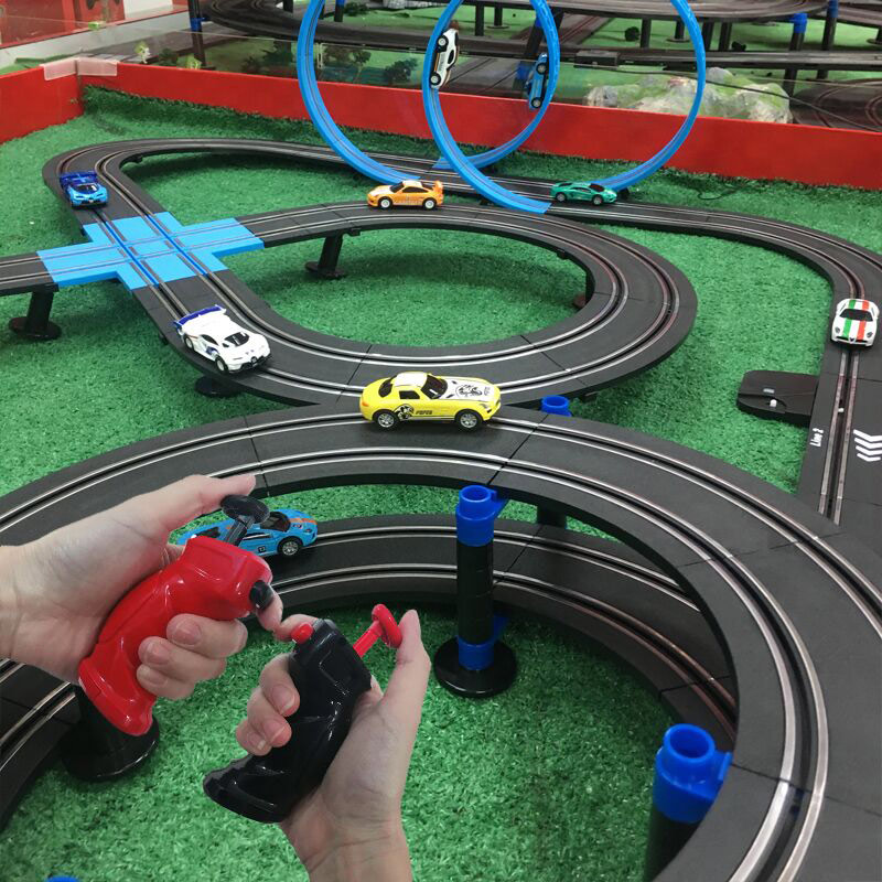 AGM Sonic Storm Childrens Toy Electric Rail Car Boy RemoteLy Controlled Train Car Track Double Racing