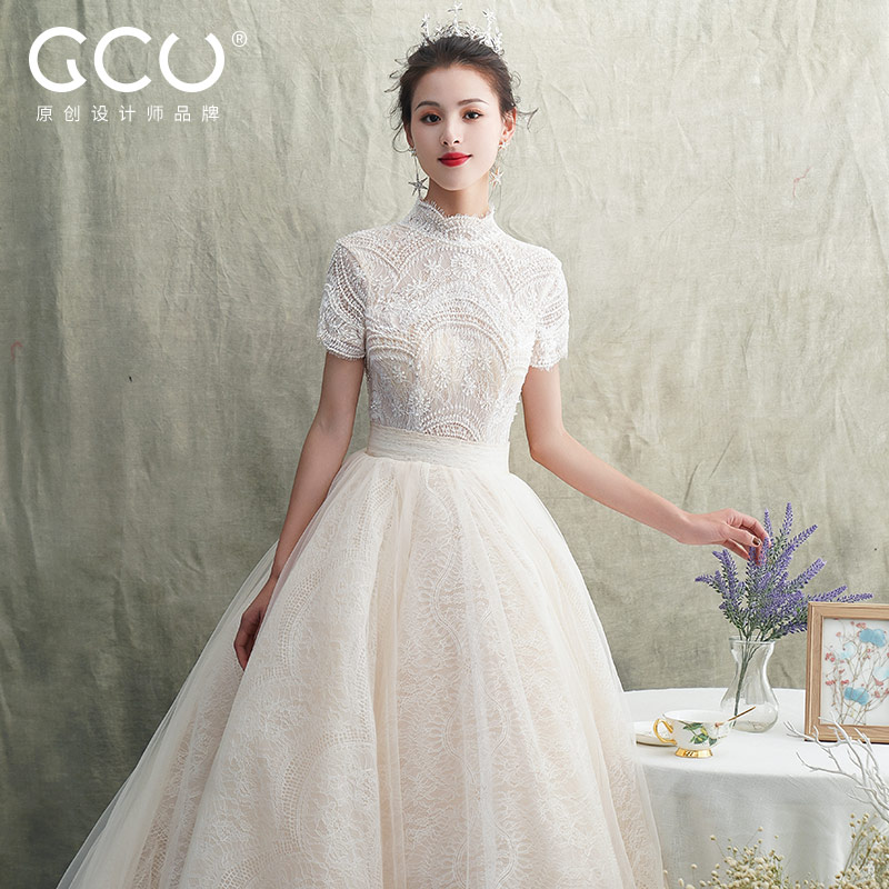 Light wedding dress 2020 new tailed temperament bridal skirt Sen Department super fairy dream little man slim 2019 cover pregnant belly