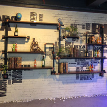 Iron pipe wall shelves wine rack industrial wind decoration creative partition wall hanging shelf American wall decoration