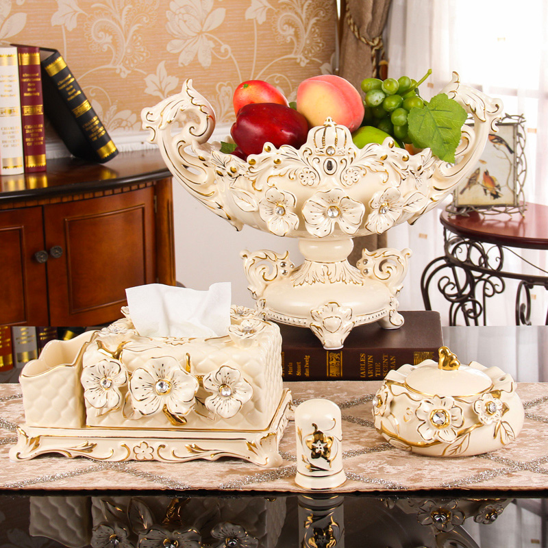 Saint Lucas European Fruit Plate Living Room Creative Household Fruit Pot Three-piece Set Tea Table with Large Ceramic Fruit Plate