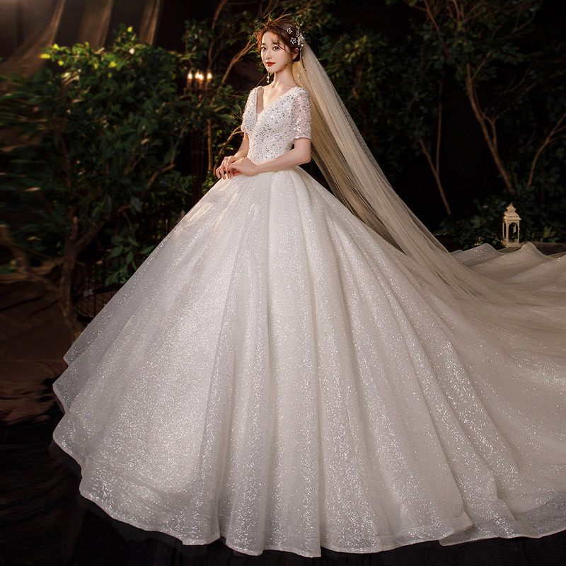 French main light wedding dress 2020 new bridal dress winter tail temperament Mori super fairy dream cover thick arm