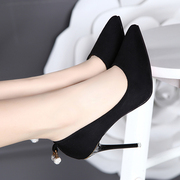 The Korean version of high heels in the spring of 2017 new waterproof black shoes with a fine pointed all-match wedding shoes work shoes