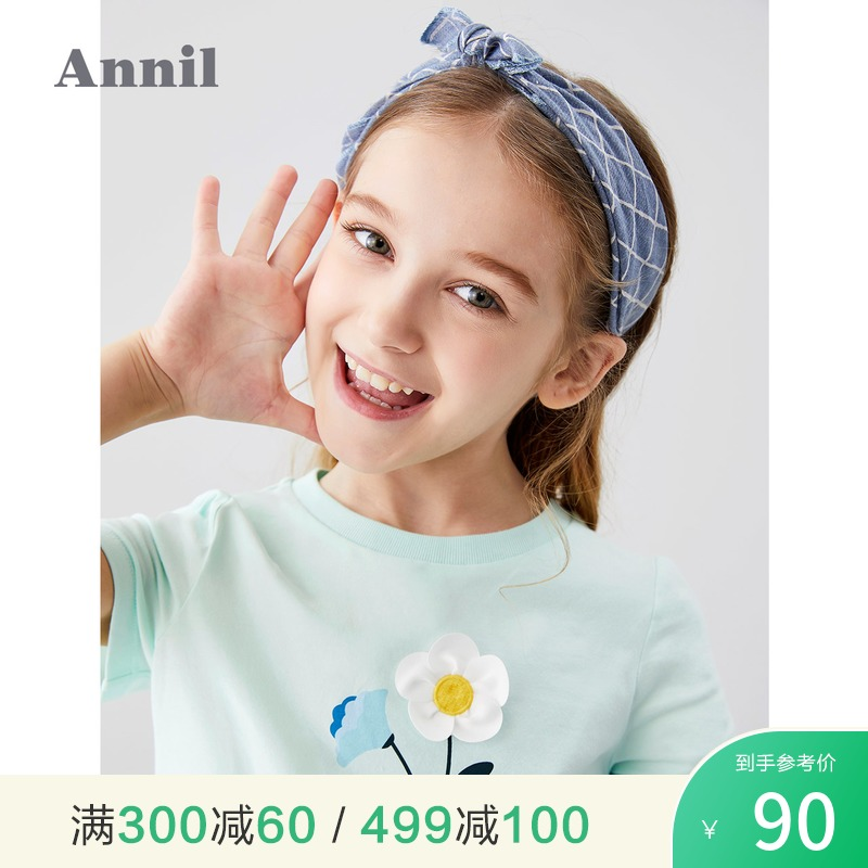 Annie children's T-shirt girl's round neck 2020 summer new middle and big children's three-dimensional flower girl's Short Sleeve Top
