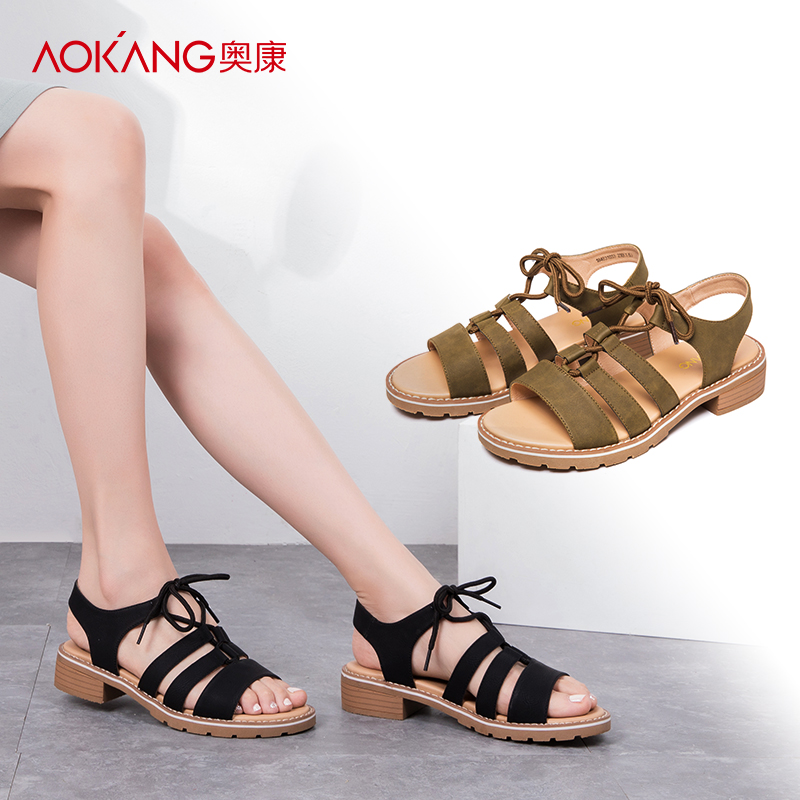 Aokang flagship store official women's shoes 2018 summer new casual shoes ladies sandals fashion thick heel shoes Roman shoes