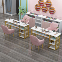 Net red nail art table and chair set ins Simple special price economical nail shop Japanese light luxury single double nail table