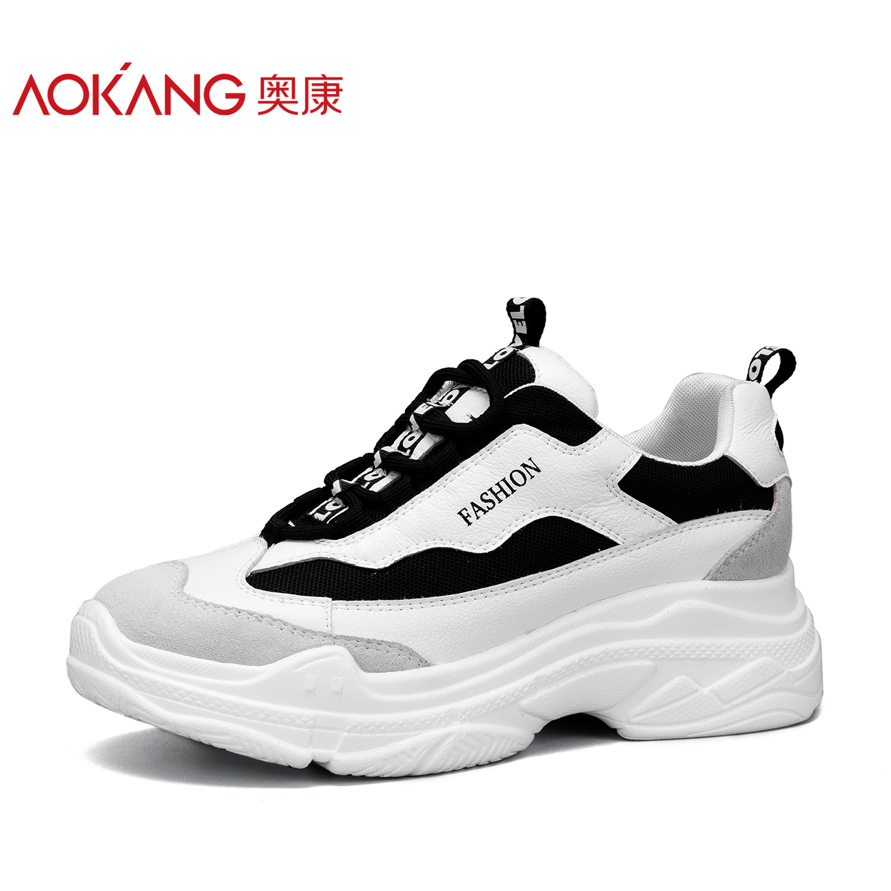 Comfortable Trend of Okang Women's Shoes with Thick Bottoms for Students Korean Style Students Comfortable Daddy Shoes for Students