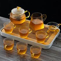 Glass tea set Household Japanese Kung Fu black tea cup Simple high temperature cooking tea pot Small set portable tea tray