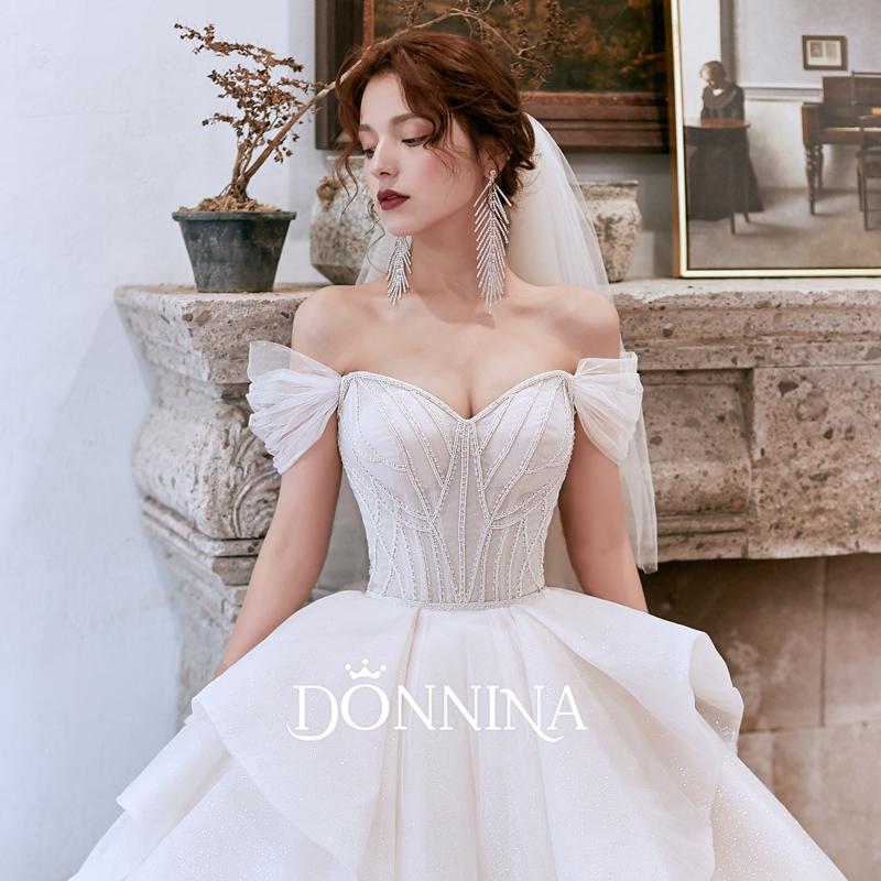 Donna wedding dress 2019 new one shoulder bridal dress winter forest simple super fairy tail dream 2020
