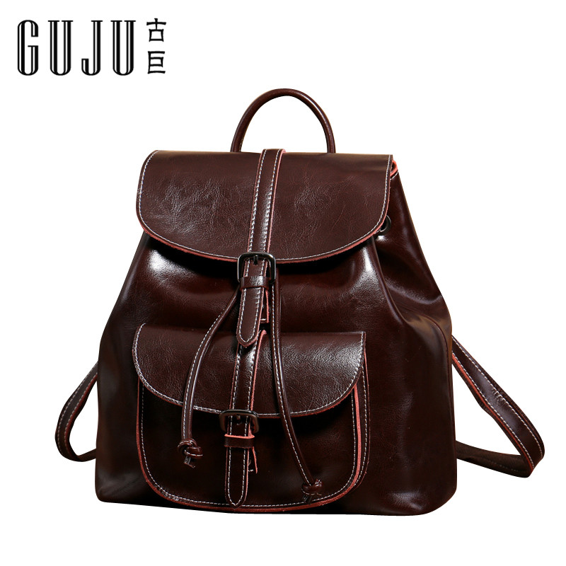 Old giant leather shoulder bag Korean fashion oil wax leather suction bucket Travel Backpack large capacity bag tide
