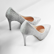 Every day special silver thin heel high heels gold glitter powder in the black shoes