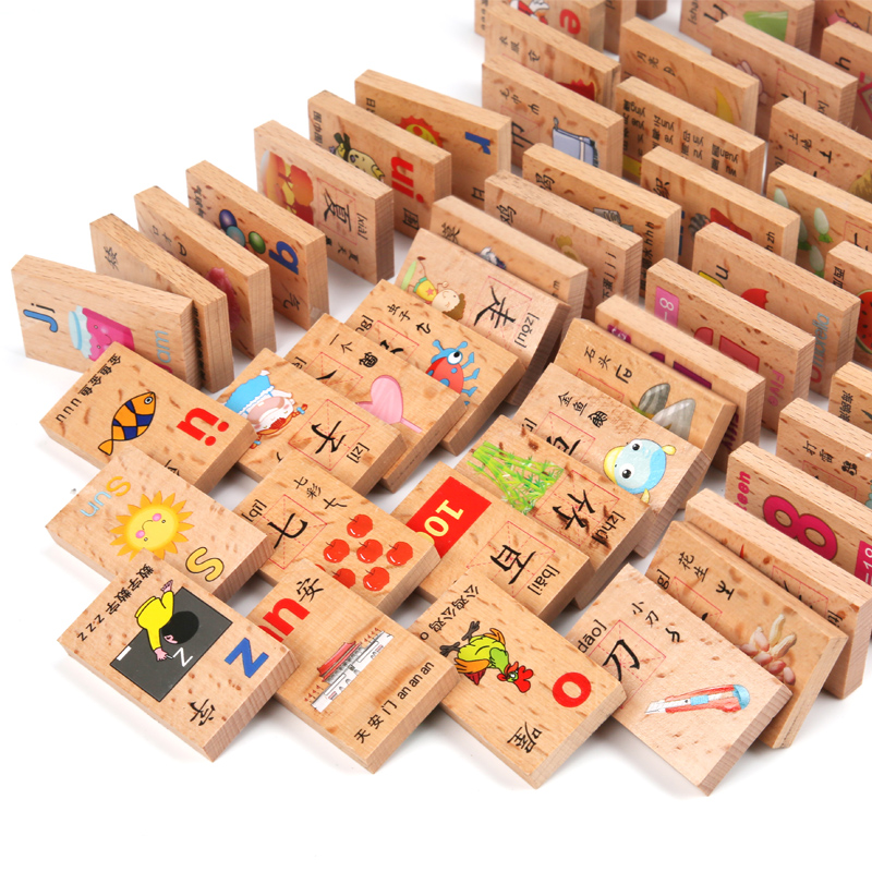 Beech Domino Dominoes, Chinese Characters, Children's Intelligence Toys Number 4-5 Babies Teach 3-6 Years Old Building Blocks Early