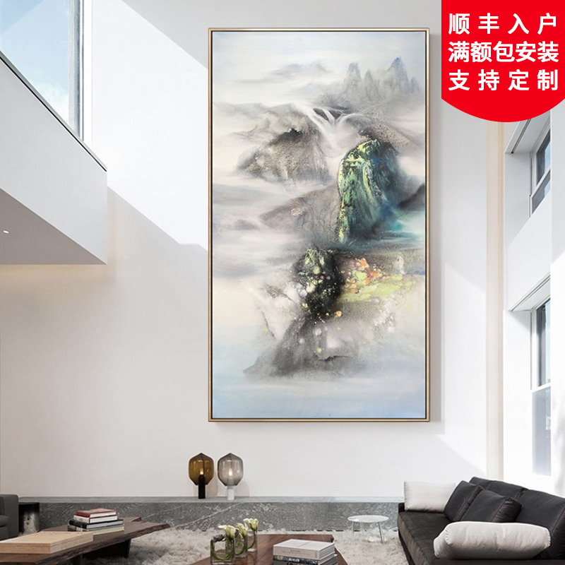Pure hand-painted landscape abstract oil painting custom-made concise modern Chinese porch corridor decorative painting Spring Yishan
