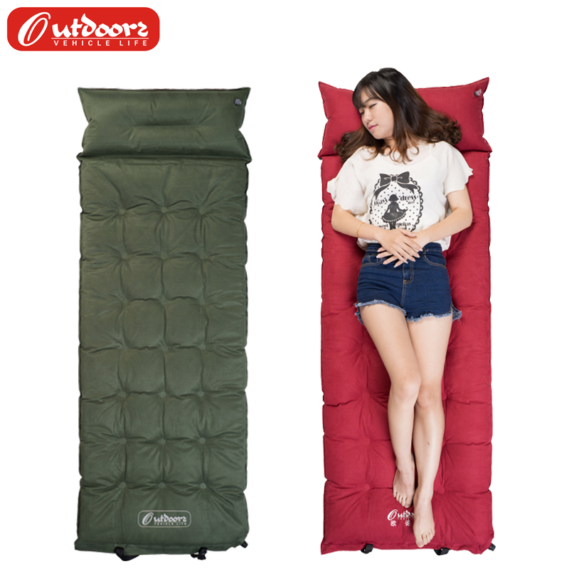 Oude Shi suede single thick padded picnic moisture-proof widened plus velvet DIY-1401 flocking self-inflating pad