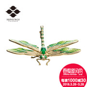 HIVENGI / Sea Vatican Natural Emerald green brooch 18K золотой инкрустация 68 очков Diamond Chest