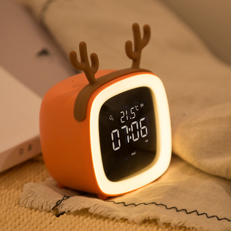 Creative electronic alarm clock cartoon for children special girl lovely bedroom quiet bedside night light personality lazy person