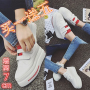 2017 new spring thick white Korean students all-match breathable Velcro muffin increased leisure shoes